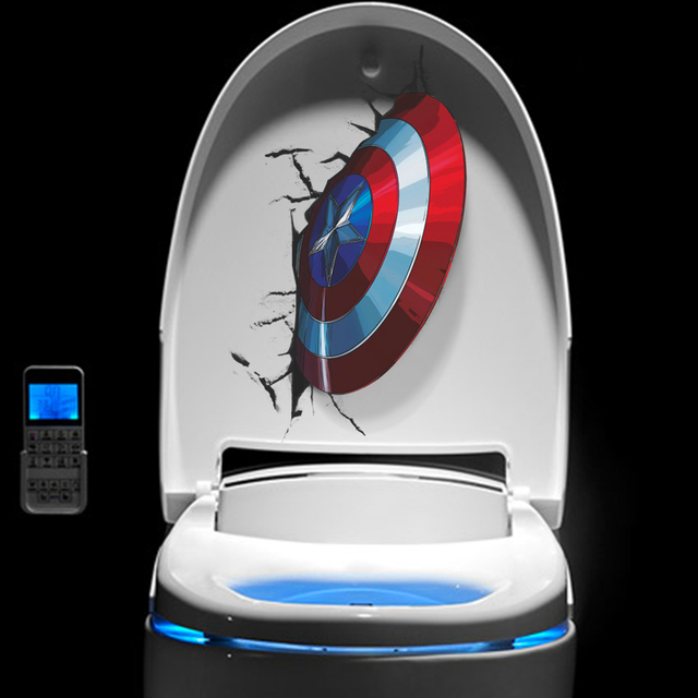 3D Vivid Captain America's Shield Through Wall Stickers Kids Rooms Toilet Decor The Avengers Wall Decals Art PVC Mural Posters