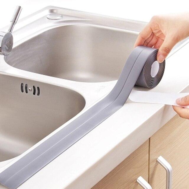 Autoadesivo Cozinha Cerâmica Adesivo À Prova D' Água Anti-umidade PVC Adesivo de Parede Linha de Canto Pia Do Banheiro Adesivos 3.8*320 cm