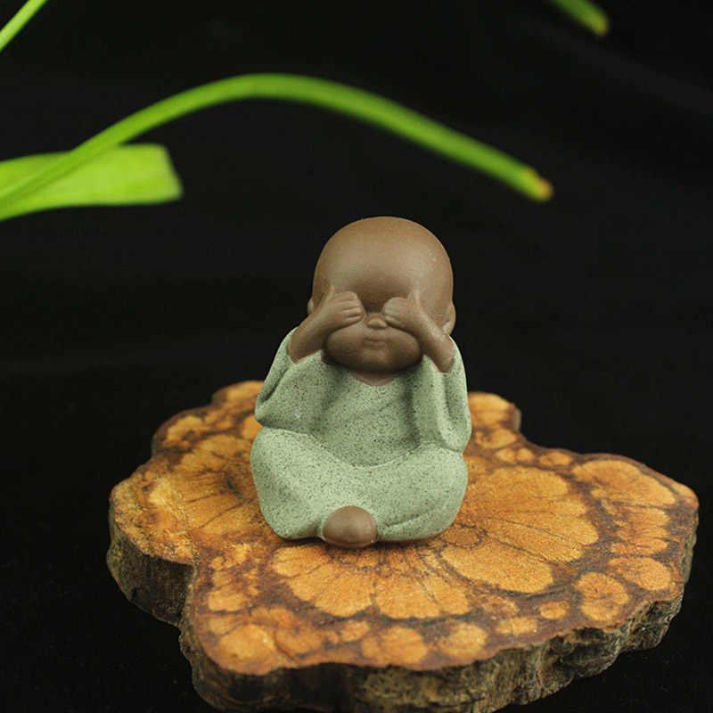 Keramik Ornamente Mönch Skulpturen Hause Handwerk Decor Sukkulenten Blumentopf Mönch Figur Tee Zeremonie Kleine Buddha Atatue