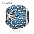 Authentic 925 Sterling Silver Starfish DIY Blue Crystal Bead Fit Women Pandora Charms Bracelets & Bangles Jewelry YW20621