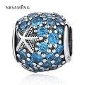 Authentic 925 Sterling Silver Starfish DIY Blue Crystal Bead Mulheres Fit Pandora Encantos Pulseiras & Bangles Jóias YW20621