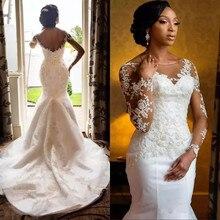 2018 Africano Lace Sheer Vestido de Noiva Sexy Backless Trem Da Varredura Vestidos de Noiva Vestido De Novia
