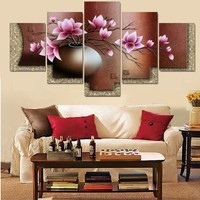 5 Panel Canvas Wall Art Decor Modern Decorative Picture Vintage Flower Canvas Painting Wall Pictures For