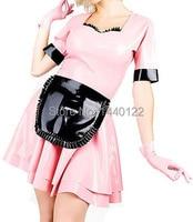 Sexy latex rubber set lolita girl dress pink fetish lolita vestidos plus size