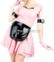 Sexy latex rubber set lolita girl dress pink fetish lolita vestidos plus size