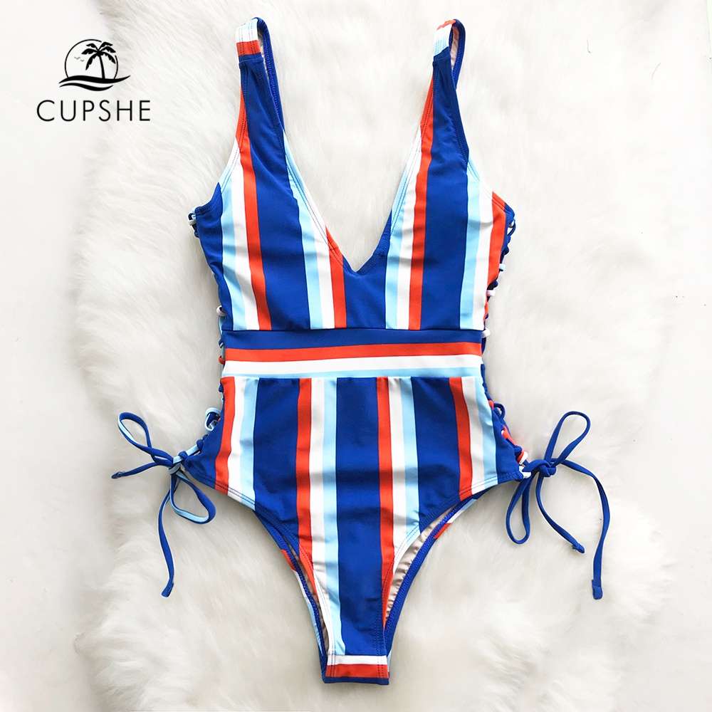 Cupshe Lace Up Striped <font><b>One</b></font>-<font><b>piece</b></font> <font><b>Swimsuit</b></font> Women Slim V-neck <font><b>Sexy</b></font> Bodysuit Swimwear <font><b>2018</b></font> New Girl Beach <font><b>Bathing</b></font> Suit Monokinis image