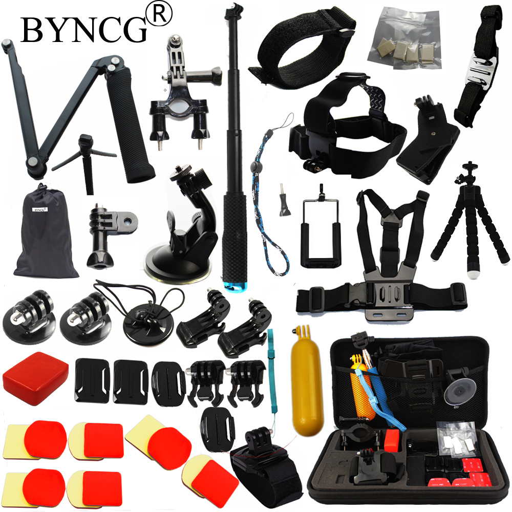 BYNCG for Gopro Accessories set GoPro Hero 5 4 3 Kit Mount SJCAM SJ4000 Xiaomi Yi Go Pro Camera Eken H9 Tripod Chest Head Strap tekcam for gopro accessories set gopro case bag for gopro hero3 hero 5 4 2 3 sjcam sj4000 sj5000 sj6 sj7 xiaomi yi 4k plus