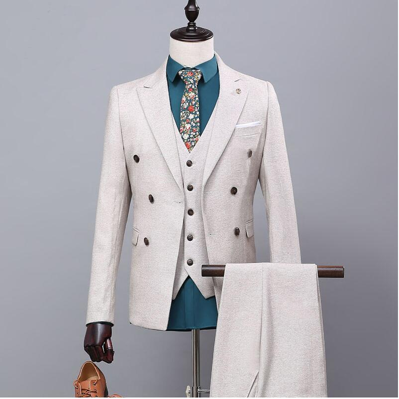 Новый бренд Для мужчин костюмы Свадебные Tuxedo Slim Fit костюм Для мужчин Жених Бизнес торжественное платье двубортный мужской костюм куртка + бр