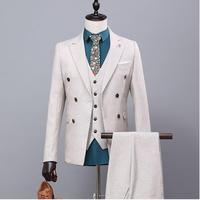 Новый бренд Для мужчин костюмы Свадебные Tuxedo Slim Fit костюм Для мужчин Жених Деловое платье двубортный мужской Костюмный пиджак + брюки + жилет