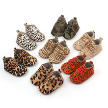2019 Genuine Leather Baby shoes Leopard print Baby Girls Soft shoes Horse hair Boys First walkers Lace Baby moccasins(China)