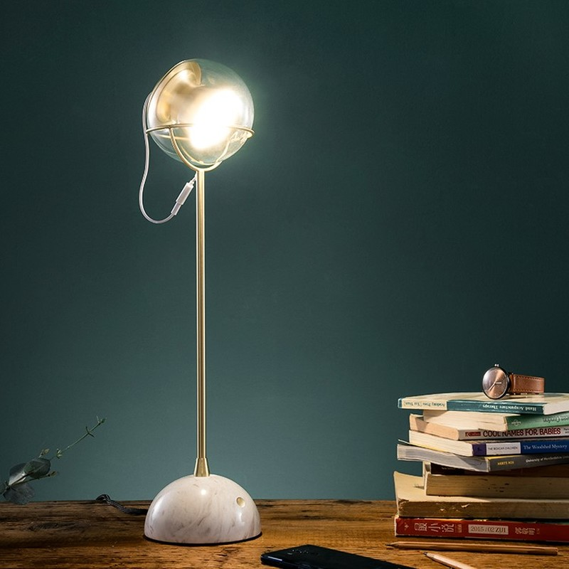 Postmodern Designer Table Lamp Marble Base Home Deco Table Lights Glass Touch Adjust Bed Lamp Creative Living Room Study Lights