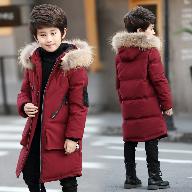 cf7c11a92 Boys Fur Jackets 2018 Winter Down Coat with Fur Hooded Toddler Boys ...
