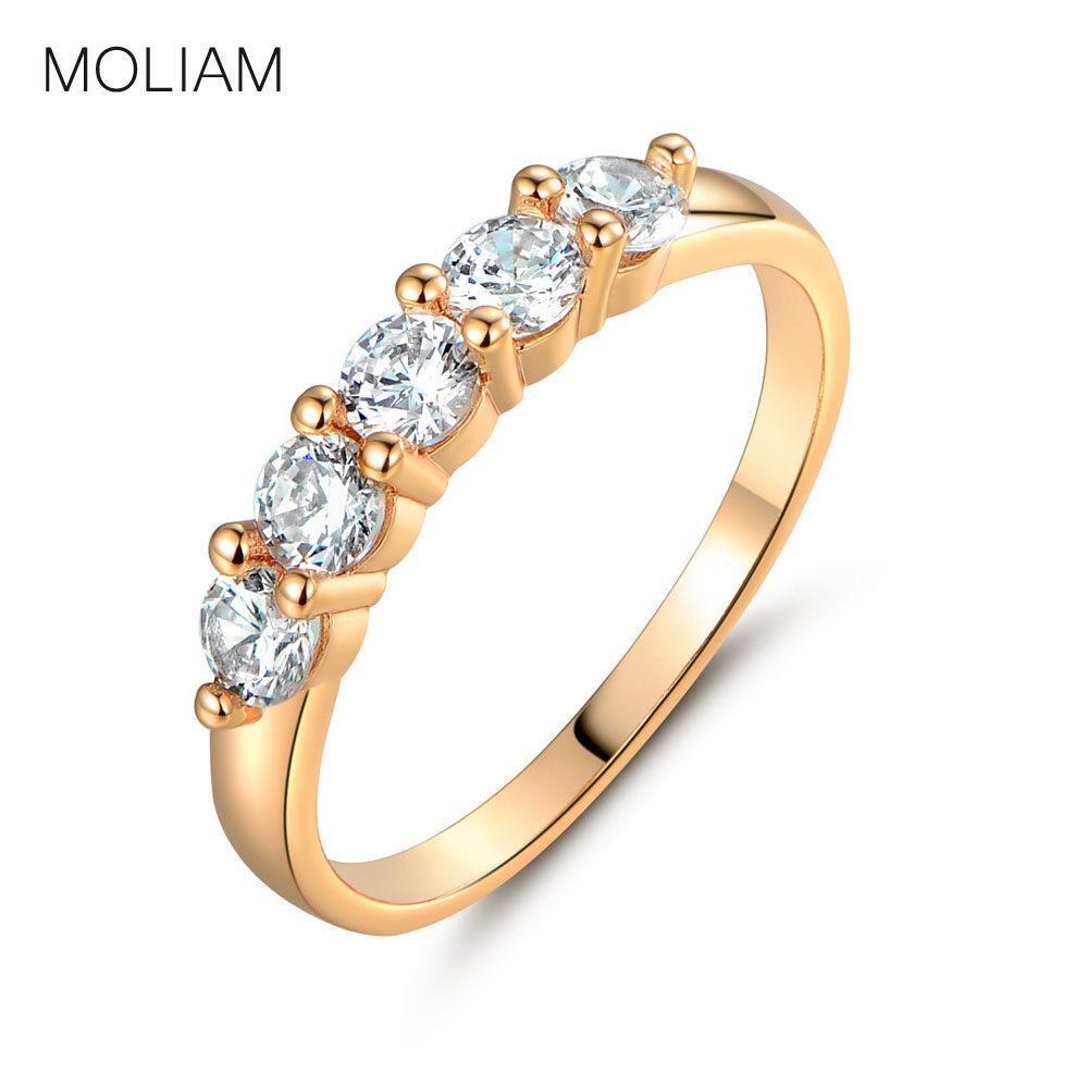 MOLIAM Fashion Vintage Ring for Womens Gold-Color White Crystal Zirconia CZ Rings Brand Jewelry Hot Sale MLR183