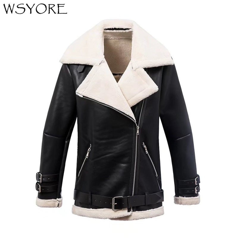 WSYORE Parkas Mujer 2019 Women Thick Fur Coat New Autumn and Winter Casual Outwear Black Coats PU Faux   Leather   Jackets NS330