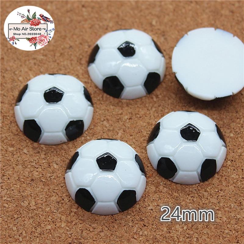 10pcs Resin Football Sports Flat Back Cabochon Art Supply Decoration Charm Craft DIY 24mm