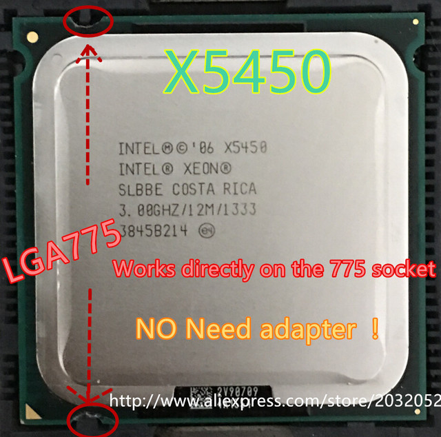 lntel Xeon X5450 3.0GHz 12M 1333Mhz CPU equal to LGA775 Core 2 Quad Q9650 CPU,works on LGA775 mainboard no need adapter in stock
