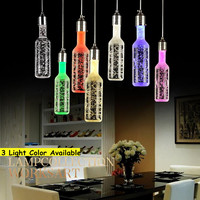 Bottle LED Crystal Bubble Pendant Light 220V 3W Home Bar Living Room Pendant Night Lamp Indoor Lighting Fixture Decoration
