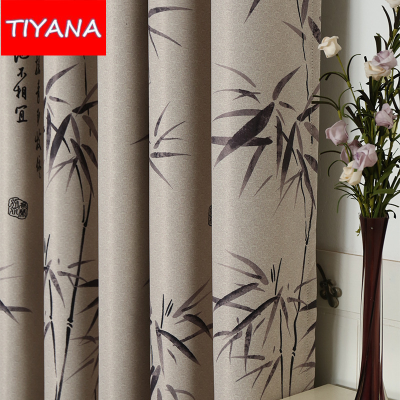 Chinese Bamboo Design Blinds Curtains For Living Room Sheer Tulle Curtains For Bedroom Blackout