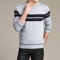 2017 Autumn Fashion Brand Casual Sweater O Neck Striped Slim Fit Knitting Mens Sweaters Pullover For