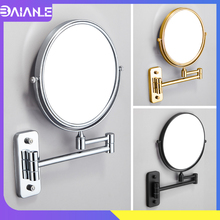 Bathroom Mirror Black Stainless Steel Dual Arm Extend 2-Face Cosmetic Mirror Wall Mounted Adjustable Make Up Mirror Magnifying недорого