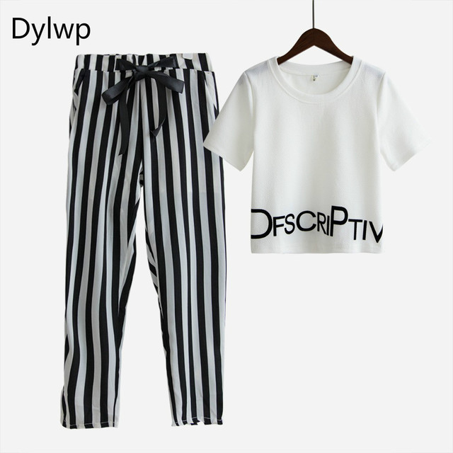 Two piece set summer women suit fashion letters print t shirt tops and stretchy striped harem pants tracksuit women 2 piece sets