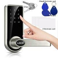 Smart Touch Screen Electronic Door Lock Password + Key + Card Triple Zinc Alloy Electronic Code Lock Touch pad password locks