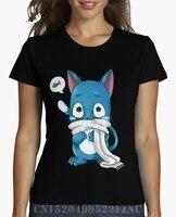 Moda verão Top t shirts menina Feliz Fairy Tail kpop Projeto Curta Carta De Malha de Alta Qualidade