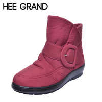 HEE GRAND Plus Size 35 42 Waterproof Woman Boots High Quality Big Buckle Warm Fur Mother
