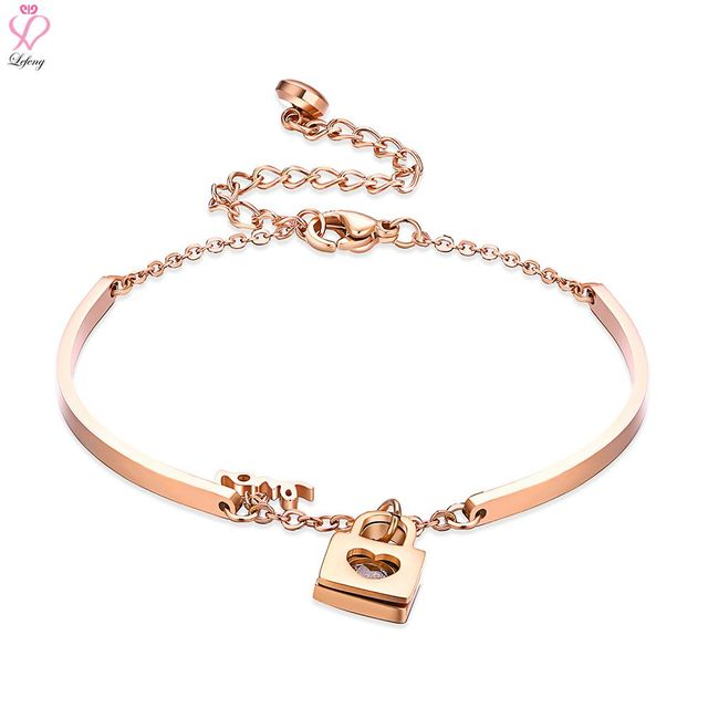 c55fcc007e070 US $10.54 |Lefeng Stainless Steel Rose Gold Bracelet Love Lock Adjustable  Bangle Best Gift for Women-in Bangles from Jewelry & Accessories on ...