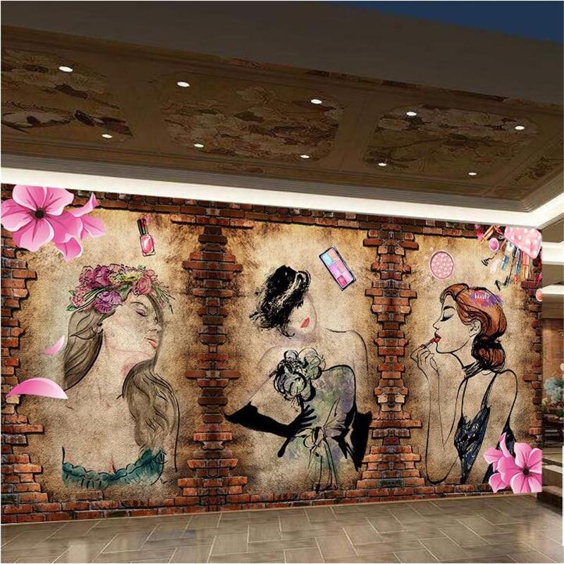 Beibehang papel de parede 3d custom wallpaper cool beauty for Salon wallpaper