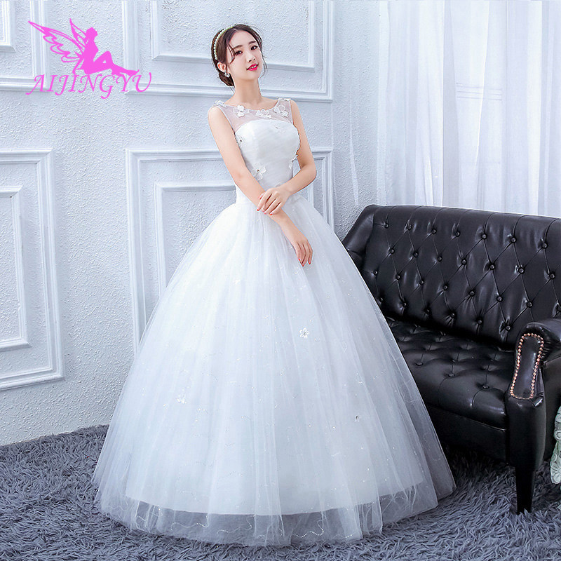 AIJINGYU 2018 Floor Length Free Shipping New Hot Selling Cheap Ball Gown Lace Up Back Formal Bride Dresses Wedding Dress FU190