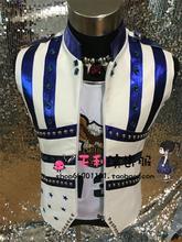 S-5XL ! 2017 DJ men's fashion new male singer costumes ds Rivet vest plus size stage singer costumes clothing