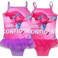 2017 trolls tipo bebê meninas miúdos de natação biquínis maiô maiô swimsuit one piece lace sweet & peça