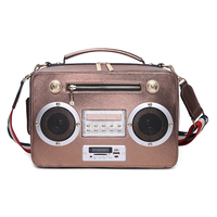 New Personality design simulation sing radio creative women's bag portable Messenger bag support Bluetooth radio card package