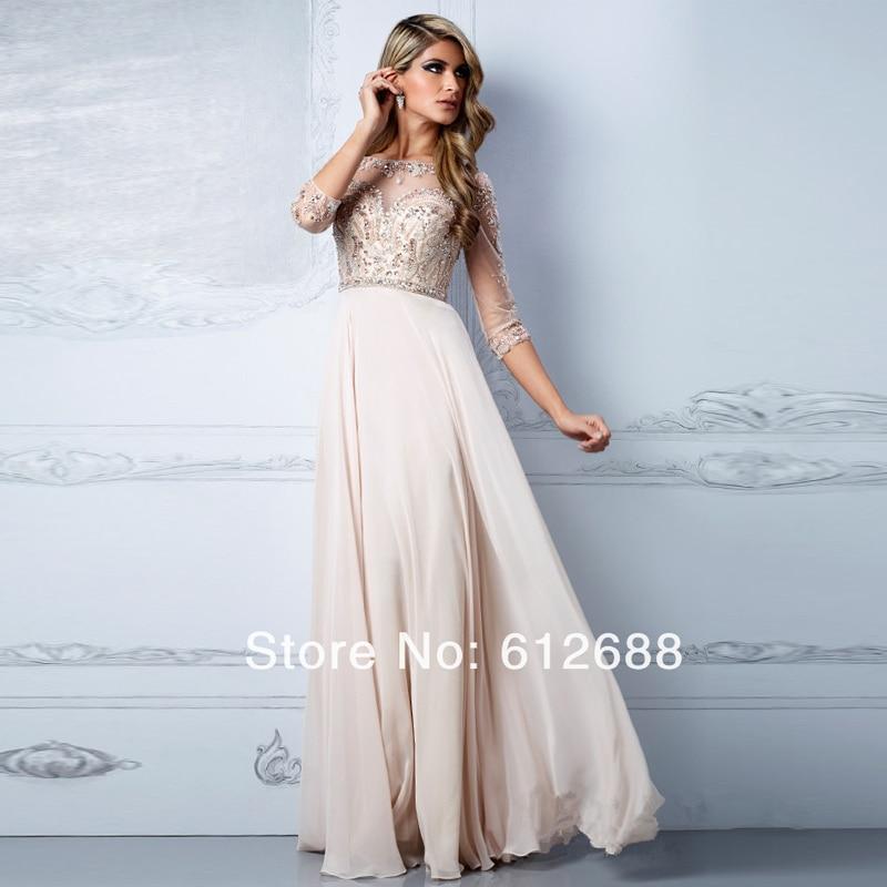 Beige Colored Long Prom Dresses