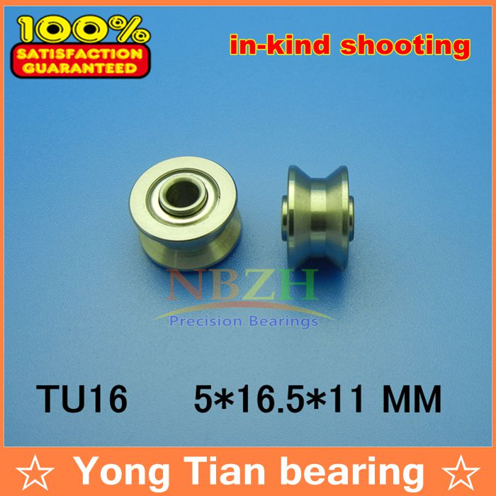 high quality TU16 ABEC-5 6mm V / U groove pulley bearings 5*16.5*9*11 mm Ugroove roller wheel ball bearing T-U-16 T-16 free shipping 10pcs tu16 t16 u16 t16 5 abec5 6mm pulley bearings 5x16 5x9x11mm u groove roller wheel ball bearing t u 16