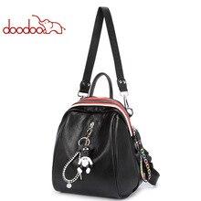 DOODOO 2019 Fashion Women Backpacks Female PU Leather Backpack Shoulder Bags Daypack For Rucksack Feminine Mochila
