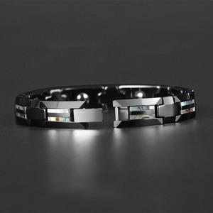 Image 3 - Good For Health Magnetic Bracelet Men Luxury Natural Shell Never Scratch Black Tungsten Steel Bracelets For Women Cross Jewelry