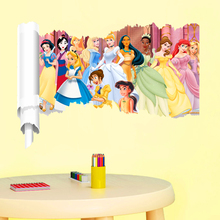 3d effect animation princess wall stickers for kids rooms