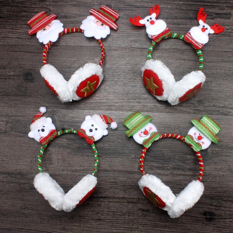 1Pc Cozy Cute Santa Pattern Adult Kids Xmas Party Winter Warm Soft Plush Christmas Style Novelty Earmuffs Gift