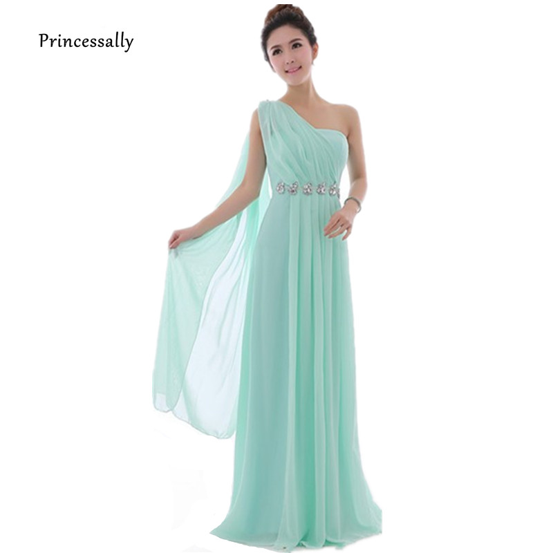 Long Mint Green Bridesmaid Dress One Shoulder High Quality Chiffon Party Dresses Light Yellow Bridesmaid Dresses Under $50