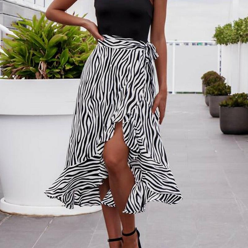 Women Summer High Waist Zebra-Stripe Skirt Fashion Pleated  Wrap Sarong Beachwear Cotton Long Casual Skirt Sundress