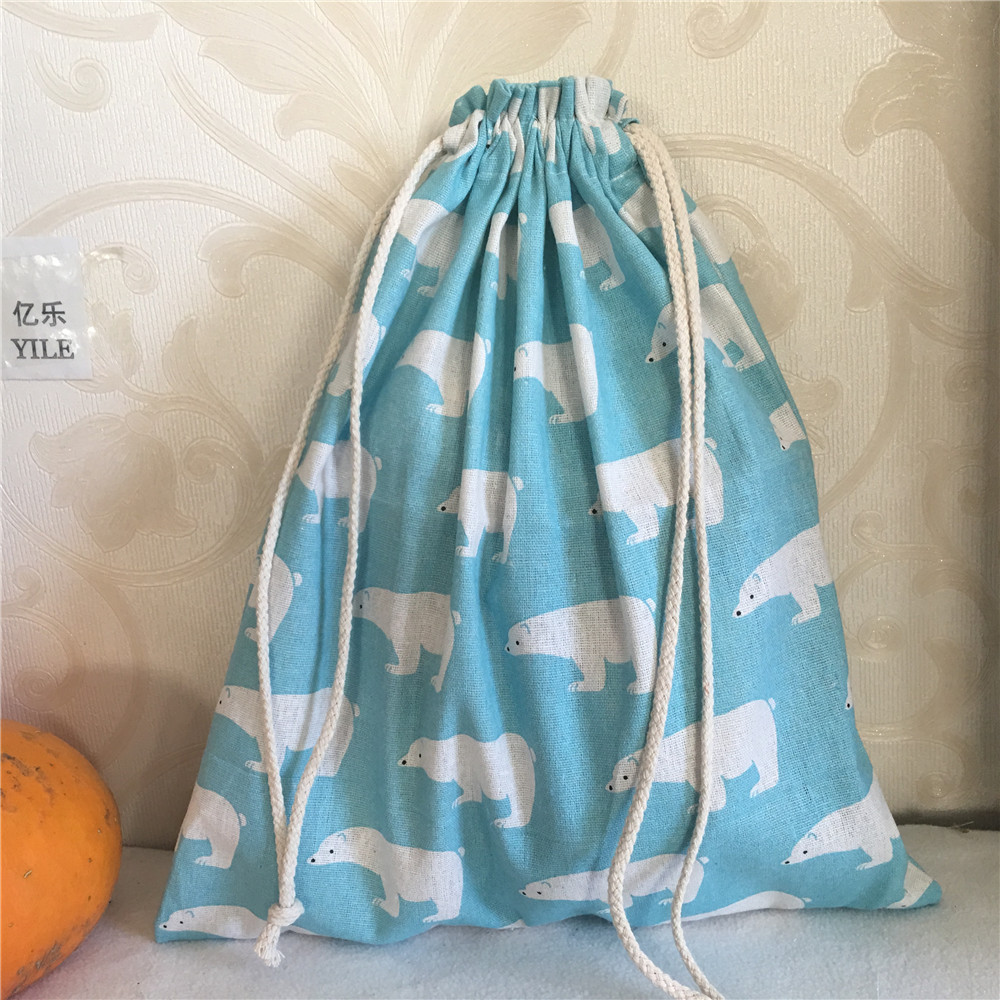 YILE Cotton Linen Drawstring Multi-purpose Home Organizer Bag Shoes Bag Polar Bear Blue 8201d