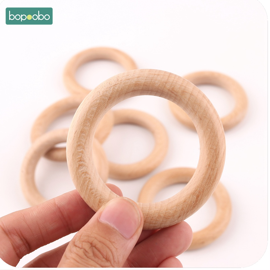 Bopoobo 5pcs Large Beech Wooden Ring 60mm Great For Jewelry Teething Accessories Diy Crafts Accessories Wooden Baby Teether