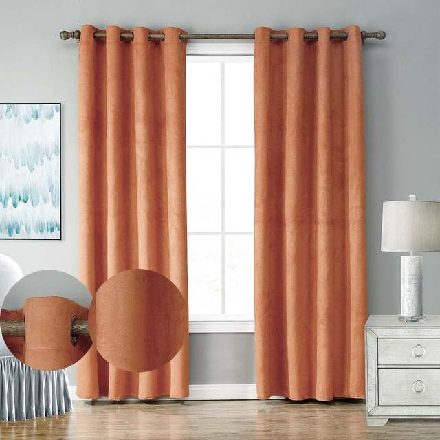 Us 1732 36 Offsuede Thermal Window Curtains For Living Room Black Out Orange Thick Curtains For Kitchen Drape Window Treatment Home Decoration In