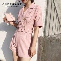 db03aced2b Cheerart Playsuit Summer Tunic Women High Waist Body V Neck Bodysuit  Combinaison Short Femme Short Jumpsuit