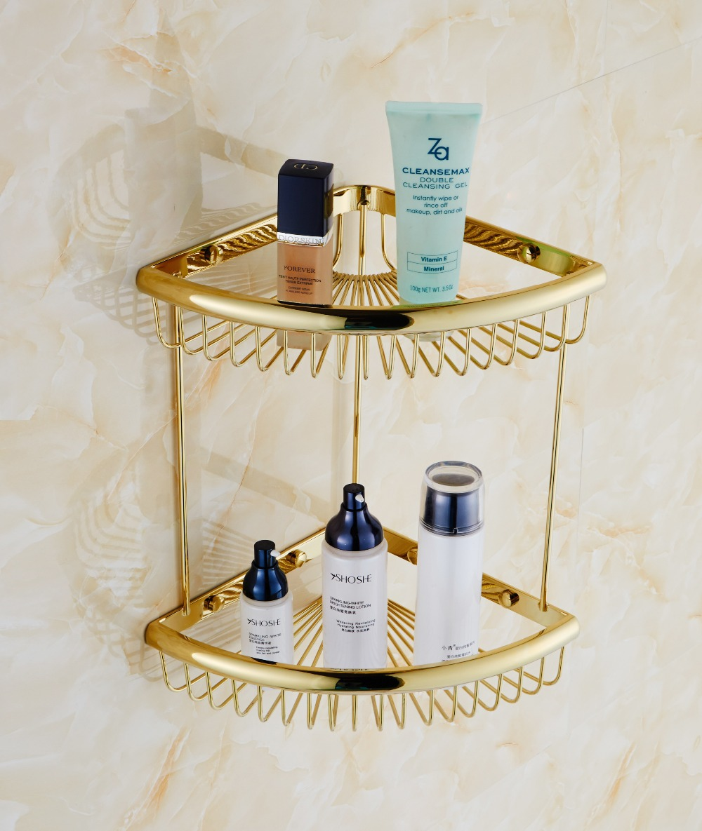 ٩(^‿^)۶NEW Bathroom Gold Brass Corner Shelf Shower Caddy Storage ...