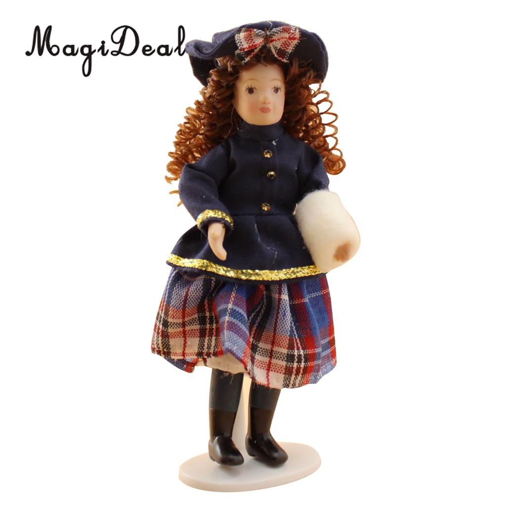 MagiDeal 1Pc Porcelain 1/12 Scale Dollhouse People Miniature Little Girl Doll Figurine for Dolls House Baby Room Decor Gift