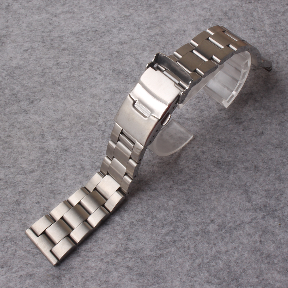 Watchbands Stainless Steel Watch Band 20mm 22mm 24mm Solid Links Straight ends with Safety Clasp Strap Loop Belt Bracelet matte