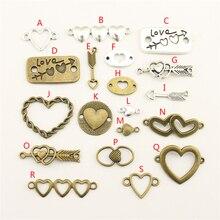 20Pcs Wholesale Bulk Accessories Parts Heart Mix Pendant Fashion Jewelry Making HK159